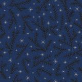 Seamless pattern fir brunch winter snowflake. Dark backdrop. Stock Image