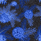 Seamless pattern with fir-cone in blue colors. Christmas tree ornament Royalty Free Stock Photography