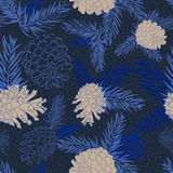 Seamless pattern with fir-cone in blue colors. Christmas tree ornament Royalty Free Stock Image