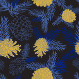 Seamless pattern with fir-cone in blue colors. Christmas tree ornament Stock Photography