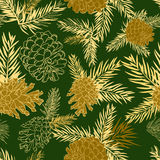 Seamless pattern with fir-cone. Christmas tree ornament. Vector illustrations Stock Photos