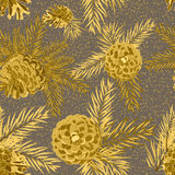 Seamless pattern with fir-cone. Christmas tree ornament. Vector illustrations Stock Photo