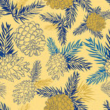 Seamless pattern with fir-cone. Christmas tree ornament Royalty Free Stock Images
