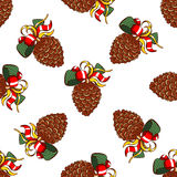 Seamless Pattern Fir Cones. Seamless pattern made from hand drawn pine cones. Christmas vector illustration Royalty Free Stock Image