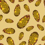 Seamless pattern with fir cones. Texture with natural elements. Vector illustration Royalty Free Stock Image