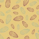 Seamless pattern with fir cones. Texture with natural elements. Vector illustration Royalty Free Stock Photography
