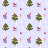 Seamless pattern with fir tree,candles and Stock Photography