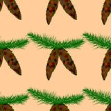 Seamless pattern with fir-tree cones Royalty Free Stock Photos