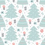 Seamless pattern with fir tree and flowers in cartoon style. Vector illustration. Seamless pattern with fir tree and flowers in cartoon style on white Royalty Free Stock Photography