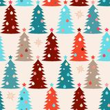 Seamless pattern with fir trees. Christmas seamless pattern with decorated fir trees Stock Image
