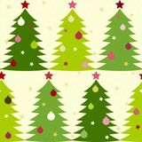 Seamless pattern with fir trees. Christmas seamless pattern with decorated fir trees Stock Photo