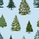 Vector background of drawn christmas trees. Seamless pattern of the fir trees in the christmas time vector illustration