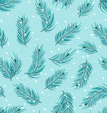 Seamless Pattern with Fir Twigs Royalty Free Stock Photos