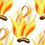 Seamless pattern Fire a bonfire elements astrological. Vector   Royalty Free Stock Photo
