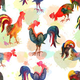 Seamless pattern with fire cock on background with imitation of. Watercolor. Chinese calendar Zodiac for 2017 New Year of rooster. Isolated bird drawn in Royalty Free Stock Image
