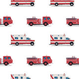 Seamless pattern of the fire engine and ambulance. Royalty Free Stock Image
