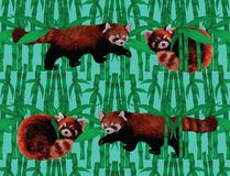 Seamless pattern with fire foxes and bamboo. Hand Royalty Free Stock Photos