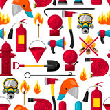 Seamless pattern with firefighting items. Fire protection equipment.  Royalty Free Stock Image