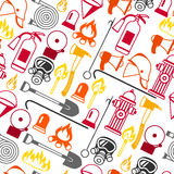 Seamless pattern with firefighting items. Fire protection equipment.  Stock Image