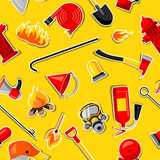 Seamless pattern with firefighting stickers. Fire protection equipment.  Royalty Free Stock Images