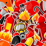 Seamless pattern with firefighting stickers. Fire protection equipment.  Royalty Free Stock Image