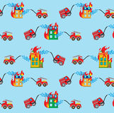 Seamless pattern with firetrucks and buildings. Seamless blue background pattern, with firetrucks and buildings Royalty Free Stock Photography
