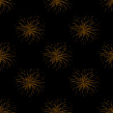 Seamless pattern with fireworks on black background.  Royalty Free Stock Photo