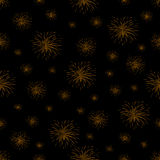 Seamless pattern with fireworks on black background.  Stock Photos