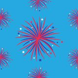 Seamless pattern. Fireworks night sky Happy independence day United states of America. 4th of July. Star and strip Flat design. Bl. Ue background. Vector Royalty Free Stock Image