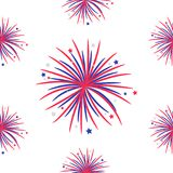 Seamless pattern. Fireworks night sky Happy independence day United states of America. 4th of July. Star and strip Flat design. Wh. Ite background. Vector Royalty Free Illustration