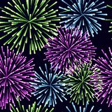 Seamless pattern of fireworks Vector colors illustration. Seamless pattern of fireworks Vector illustration Royalty Free Stock Photo
