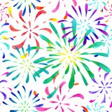 Seamless pattern fireworks watercolor. Seamless pattern fireworks watercolor multicolored. A drawing by hand Stock Photo