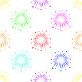 Seamless pattern with fireworks on white background Royalty Free Stock Images