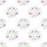 Seamless pattern with fireworks on white background Stock Image