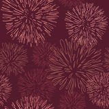 Seamless pattern with fireworks. In this year's color, Marsala Stock Photography