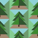 Seamless Pattern with Firs, Ground and Sky Stock Images