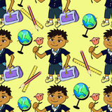 Seamless pattern with a first-class pupil of boy and globe on a Stock Image
