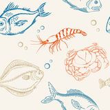 Seamless pattern with fish. Vector seamless pattern with fish, crab and shrimp Royalty Free Stock Photo