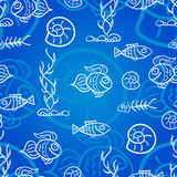 Seamless pattern with fish. And shells Royalty Free Stock Photo