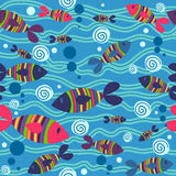 Seamless pattern with fish. Cute fish in the sea seamless pattern vector illustration