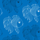 Seamless pattern with fish on  blue background Royalty Free Stock Images