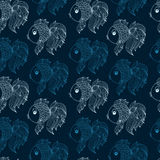 Seamless pattern with fish on  blue background Royalty Free Stock Photo