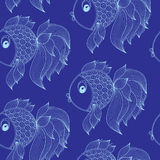 Seamless pattern with fish on  blue background Stock Photos