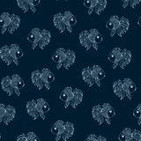 Seamless pattern with fish on  blue background Stock Images