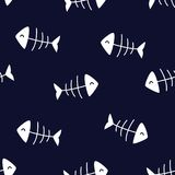 Seamless pattern with fish bones on dark background. Ornament for textile and wrapping. Vector.  stock illustration