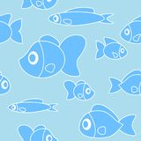 Seamless pattern with fish in cartoon style. Illustration Stock Photography