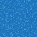 Seamless pattern with fish in cartoon style. Vector illustration Stock Photos