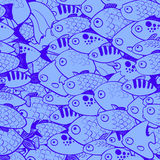 Seamless pattern with fish in cartoon style. Vector illustration Royalty Free Stock Photos