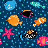 Seamless pattern with fish in the childrens style Royalty Free Stock Photos
