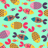 Seamless pattern with fish Stock Photo